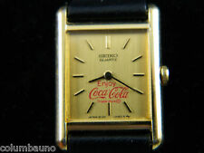 SEIKO SQUARE PETITE SLIM FACE COCACOLA  WOMEN'S WATCH/GOLD TONE CASE -2C20 -5019