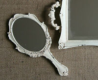 Vintage Chic Hand Held Mirror Shabby Antique French Country Dressing Table Decor