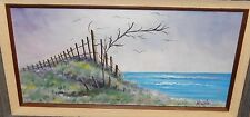 NICOLE MARSH LAND FENCE SEASCAPE OIL ON CANVAS PAINTING