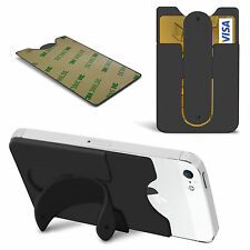 Slim Silicone Stick On Credit / Debit Card Slot Stand Cover for Various Mobiles