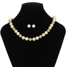 Misaki Pearl Necklace & Earrings Jewellery Set - Clearance Line - MARKED BOX