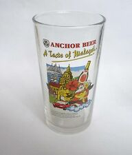 ANCHOR BEER Vintage Beer GLASS Taste of MALAYSIA RARE OLD God of Prosperity 5.5