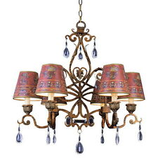 LINCOLN BRONZE 5 LIGHT CHANDELIER WITH CRYSTAL AND SHADES