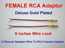 2 Channel Speaker Wire RCA GOLD PL Adapter Amp Receiver Powered Speakers Female