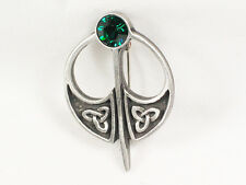 Celtic Kilt Pin style jewelled Pewter Brooch