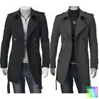 Mens Double Breasted Trench Coat Winter Long Jacket Winter Autumn Overcoat S-XL