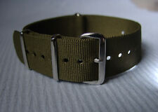 High Quality Green/Olive G10 NATO 22mm 17 Hole Max Adjust Strap.  Free UK P&P