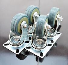 Set of Heavy Duty 50mm Rubber Swivel Castor Wheels Trolley Caster Brake 200KG UK