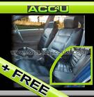 Black Quilted Luxury Shiny Leather Look Car Taxi Heavy Duty Seat Covers Full Set