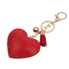 Crystal Heart Shaped Rhinestone Handbag Charm Pendant Keychain Bag Ring Chain
