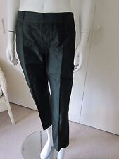 REDUCED - BNWT $450 Vera Wang Size UK 8 Silk Cropped Pants Bottle Green
