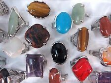 US SELLER |20pcs fashion rings wholesale bulk genuine large agate gemstones