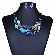 Fashion blue Leaves Enamel Inlay Crystal Necklace Earrings Jewelry Set for Women