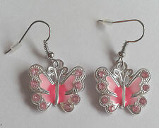 Pale Pink Butterfly Earrings Gift - Dangly/Drop - For Women - Nickel Free