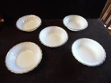 5 Milk Glass Swirl Golden Shell  Anchor Hocking Fire King Fruit Dessert Bowls