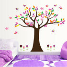 Big Tree Owls Butterfly Lovely Wall Stickers Art Vinyl Decal DIY Kids Room Decor