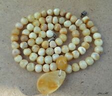 Genuine Baltic Amber necklace white beads Rare Round natural vintage 14 g.