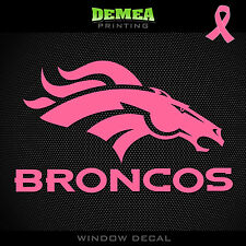Broncos NFL -  Breast Cancer Awareness Pink Vinyl Sticker Decal 5""