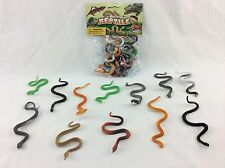"""Snake Figure Toy Playset 3""""-5"""" Plastic Cake Topper Party Favor 12 Piece"""