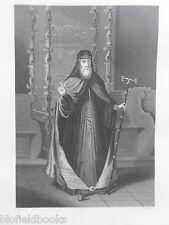 Grabado Original De Anticuario; el patriarca de Constantinopla griego-c1850