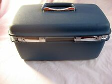 VINTAGE ASPEN SAMSONITE TRAIN CASE BLUE COSMETIC TRAVEL HARDSHELL LUGGAGE