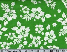 Tropical Hibiscus Floral Cotton Fabric Green Hawaiian Print BTY  #252-9