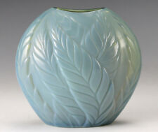Lalique Filicaria Opalescent Green Art Glass Vase Raised leaf design