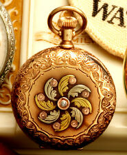 ANTIQUE 14K MULTICOLOR GOLD LADIES WALTHAM POCKET WATCH CA1891 WITH BOX