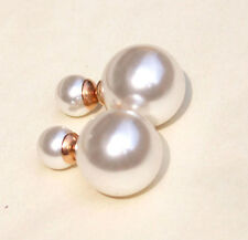 Women Quality Jewelry 18K RGF Double Sided White Pearl Beads Ear Studs Earrings