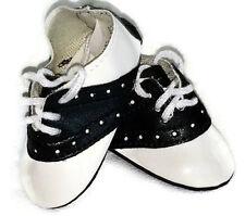 "Black & White Saddle Shoes made for 18"" American Girl Doll Clothes"