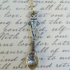 Silver Wire Wrapped Kitty Cat Spoon Charm Necklace