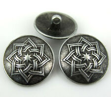 "20Pcs 3/4"" 20mm Silver Tone Carved Star Metal Pierced Buttons Fit Sewing Craft"