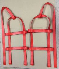 DEMCO KAR KADDY Basket Straps Tow Dolly Wheel Net Set  LOOP END Red  USA
