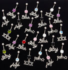 10pc Bad Word Mix Dangle Navel Rings 14g Naval Wholesale Belly (B185)