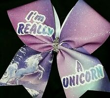 Cheer Bow - I'm Really A Unicorn - Glitter - Hair Bows