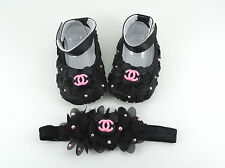 Baby Girl Crib Shoes and Headband Set, Newborn Baby Girl Shoes, Baby Accessories