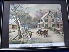 Vintage Currier and Ives print American Homestead WINTER Framed Glass