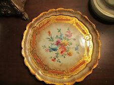 Vintage Florentine Italian Toleware Tray with gold gilt & Floral detail
