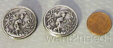 2 vtg French silver metal GEISHA PICTURE BUTTONS Asian girl parasol Mikado 26mm