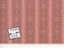 "Brodnax Prints - ""Rosewood Red"" 1VT353 miniature Victorian wallpaper 1/12 scale"