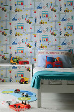 Diggers,Trucks,Cranes, Building/Construction Crayon Drawn Boys Bedroom Wallpaper