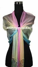 Handmade Oblong 100% Natural Silk Scarf Wrap Shawl Handrolled, Pink/Yellow/Blue