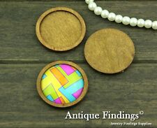 4pcs 30mm Antique Wooden Cameo Base Setting / Tray HW713A