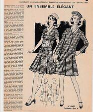 Patron à décalquer Femmes d'Aujourd'hui N°1199 avril 1968 Ensemble T 48