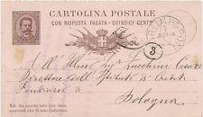 P7450   Forli, Forlimpopoli, intero postale ( con risposta) per Bologna 1882