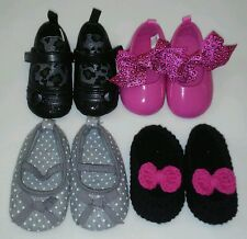 Lot Baby Girl Infant Crib Shoes 6 - 9 mos / Size 2 Black Pink Grey nb crocheted
