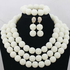 African Nigerian Off White Bead Balls Jewelry Set-Necklace, Bracelet, Earrings