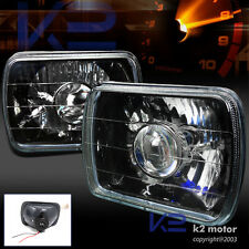 2pc 7X6 Diamond Cut Black Projector Headlights+H4 Bulbs+Conversion Kit