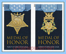 4822e-23e Medal of Honor 2013 WWII Army Navy Imperf Pair (2 stamps) No Die Cuts