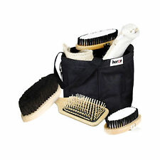 HORSE WOODEN GROOMING KIT BAG/SET - Includes 6 items + bag.